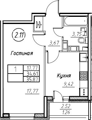 1-комнатная 37 м<sup>2</sup> на 19 этаже