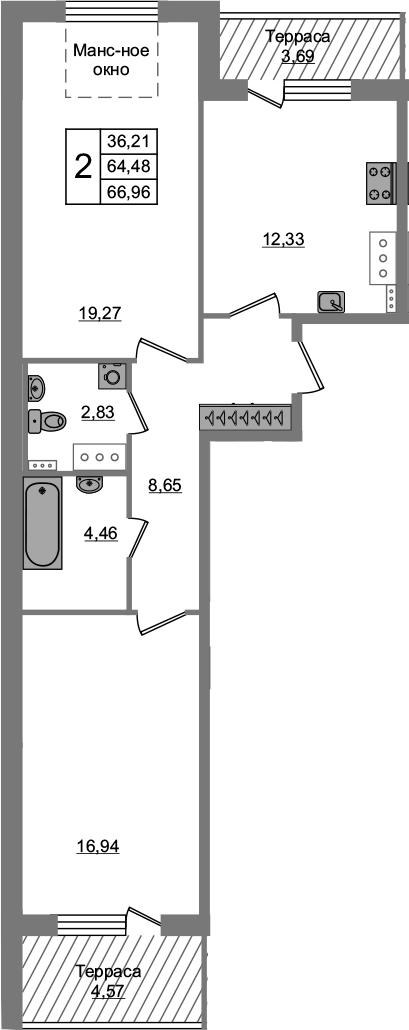 2-комнатная 72 м<sup>2</sup> на 5 этаже