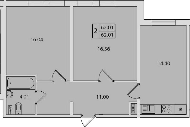 2-к.кв, 62.01 м²