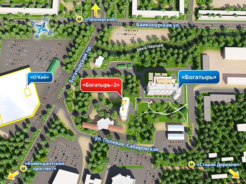 План жилого комплекса ЖК Богатырь 2