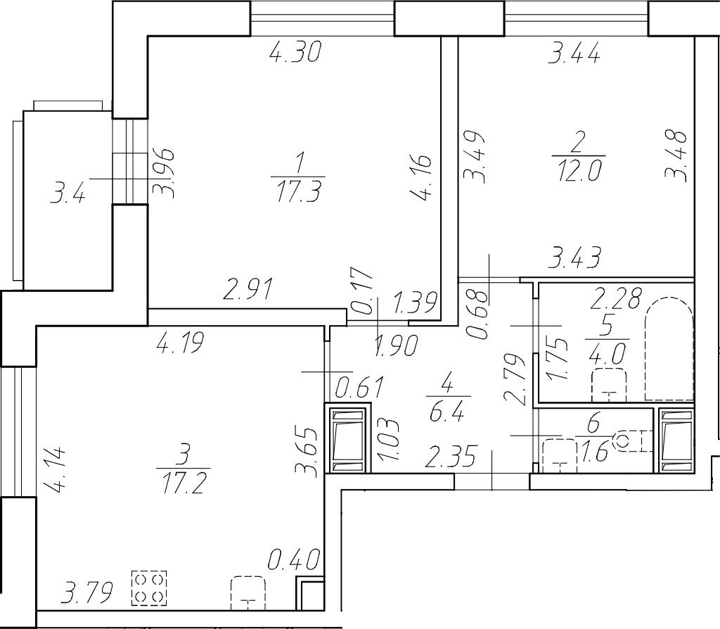 3-комнатная 61 м<sup>2</sup> на 2 этаже