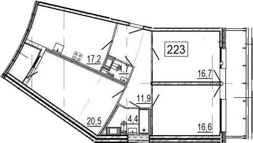 4-комнатная 102 м<sup>2</sup> на 10 этаже