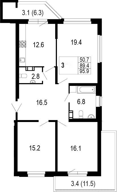 3-комнатная 107 м<sup>2</sup> на 2 этаже