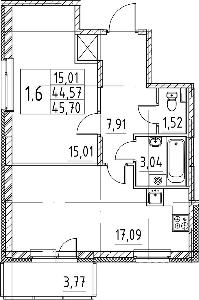 2-комнатная 48 м<sup>2</sup> на 1 этаже