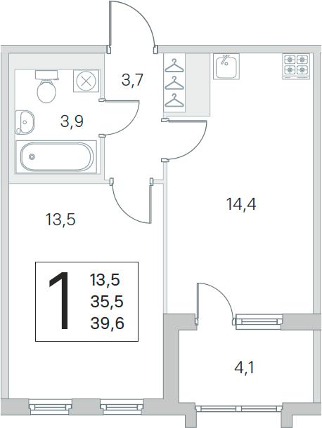 2-комнатная 39 м<sup>2</sup> на 5 этаже