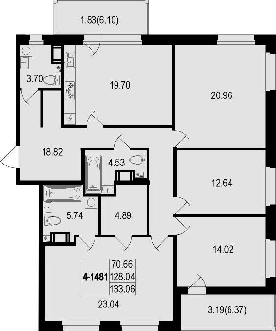 4-комнатная 140 м<sup>2</sup> на 8 этаже