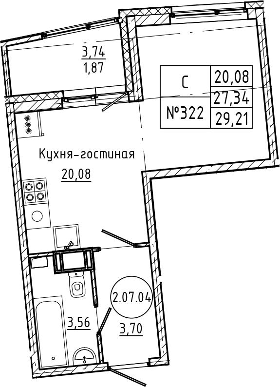 Студия 31 м<sup>2</sup> на 7 этаже