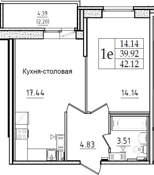 2-комнатная 44 м<sup>2</sup> на 2 этаже