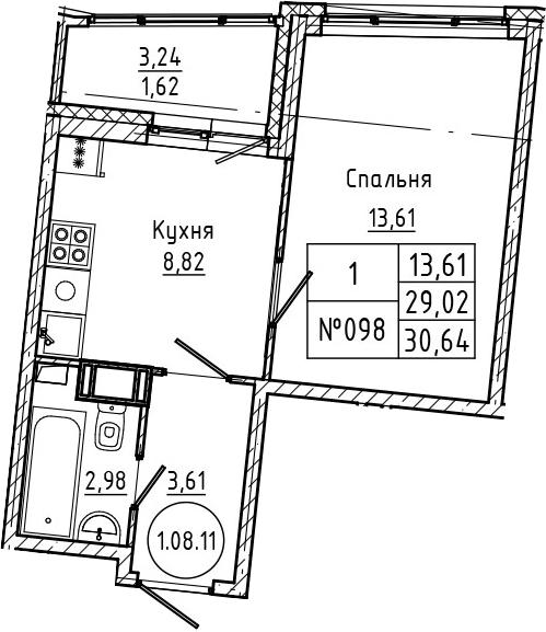 1-комнатная 32 м<sup>2</sup> на 8 этаже