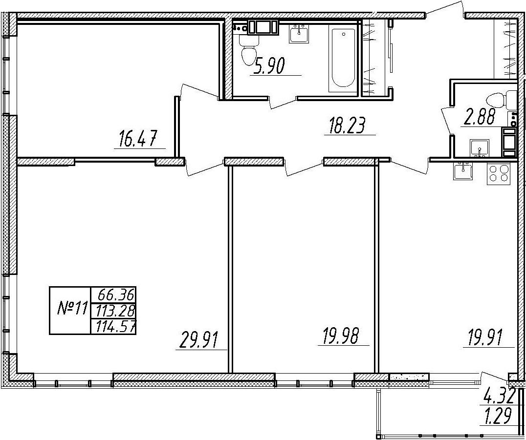 4-комнатная 117 м<sup>2</sup> на 3 этаже