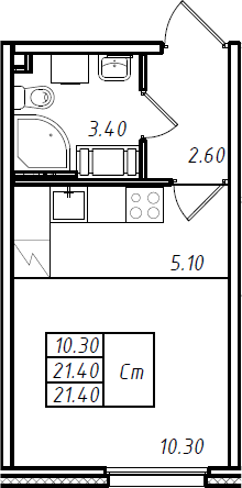 Студия 21 м<sup>2</sup> на 16 этаже