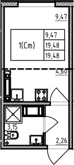 Студия 19 м<sup>2</sup> на 18 этаже