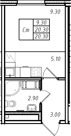 Студия 20 м<sup>2</sup> на 16 этаже