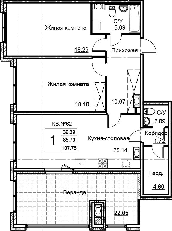 3-комнатная 107 м<sup>2</sup> на 15 этаже