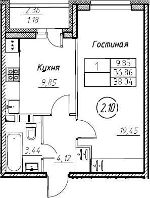 1-комнатная 39 м<sup>2</sup> на 5 этаже