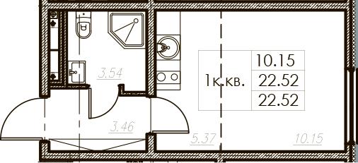 Студия 22 м<sup>2</sup> на 2 этаже