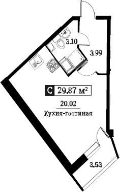 Студия 31 м<sup>2</sup> на 6 этаже