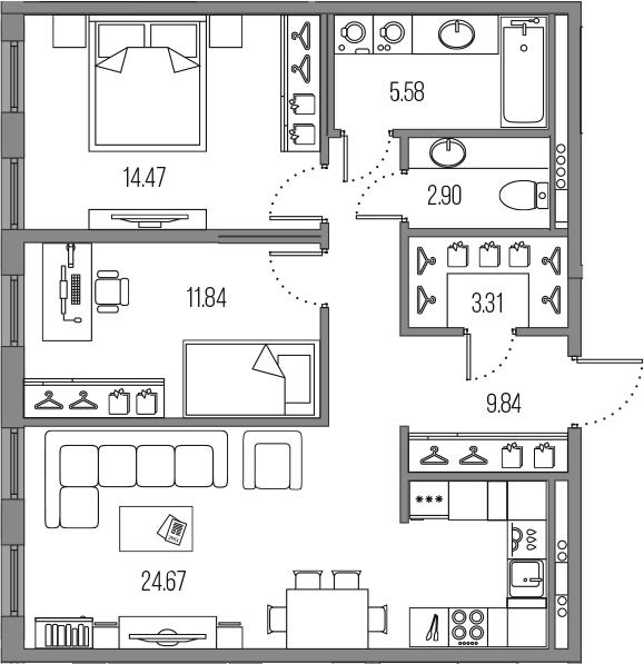 3-комнатная 72 м<sup>2</sup> на 4 этаже
