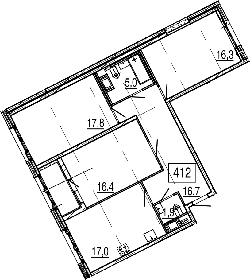 4-комнатная 94 м<sup>2</sup> на 6 этаже