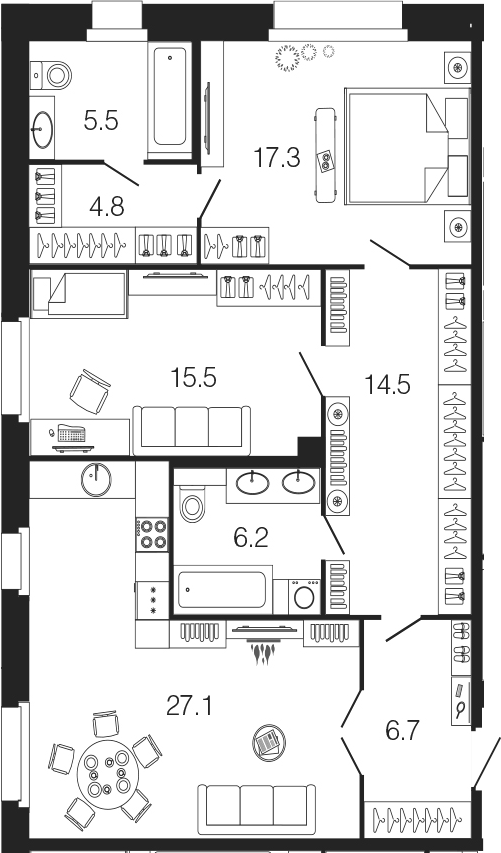 3-комнатная 97 м<sup>2</sup> на 2 этаже