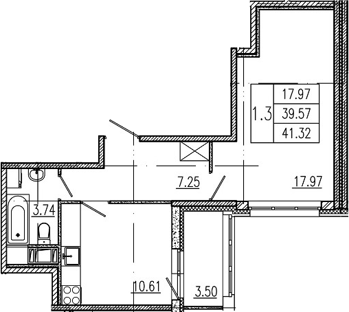 1-комнатная 43 м<sup>2</sup> на 6 этаже