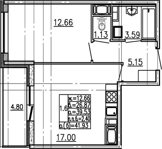 2-комнатная 44 м<sup>2</sup> на 13 этаже