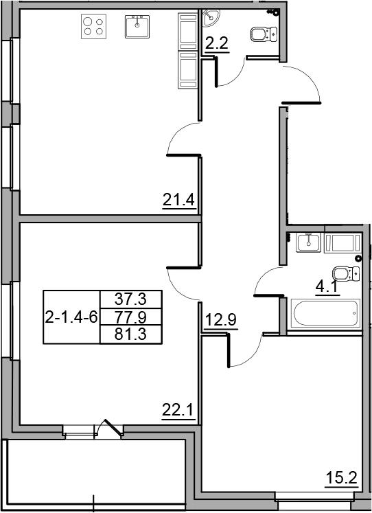 3-комнатная 84 м<sup>2</sup> на 15 этаже