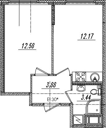 2-комнатная 32 м<sup>2</sup> на 6 этаже