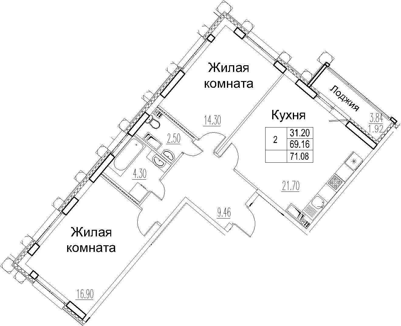 3-комнатная 73 м<sup>2</sup> на 12 этаже