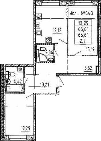 2-к.кв, 65.61 м²