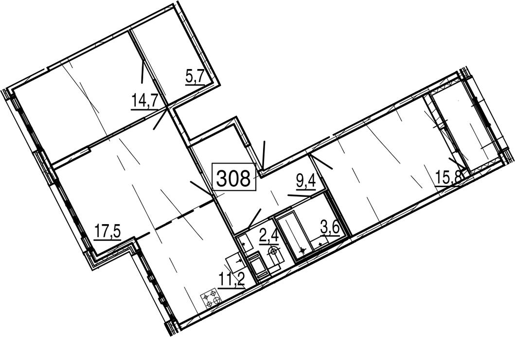 3-комнатная 84 м<sup>2</sup> на 11 этаже