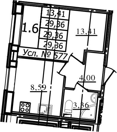 1-к.кв, 29.36 м²
