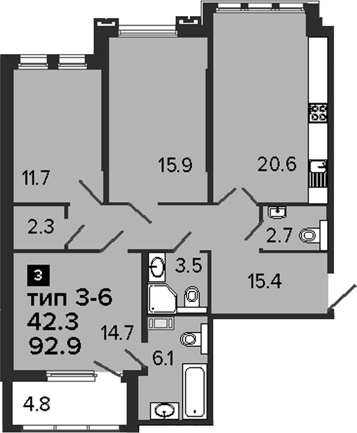 3-комнатная 97 м<sup>2</sup> на 3 этаже