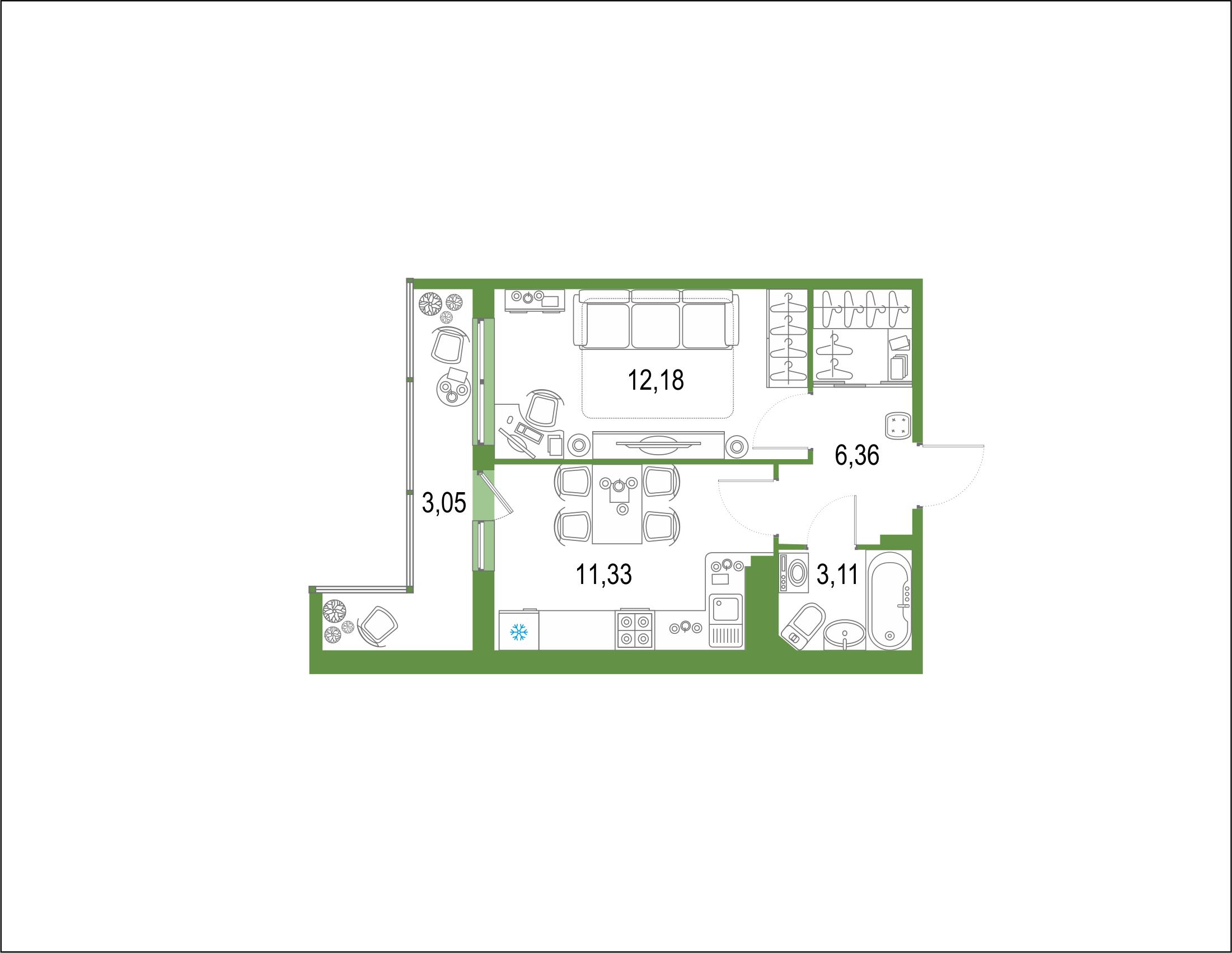 1-комнатная 43 м<sup>2</sup> на 21 этаже