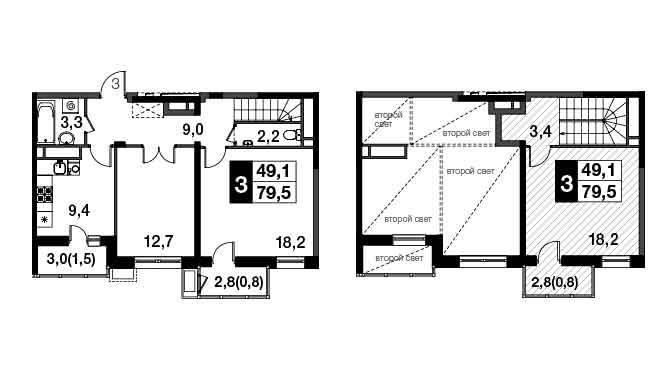 3-к.кв, 84.74 м²