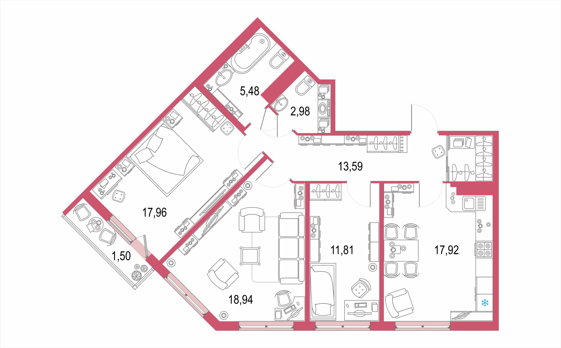 4-комнатная 91 м<sup>2</sup> на 20 этаже