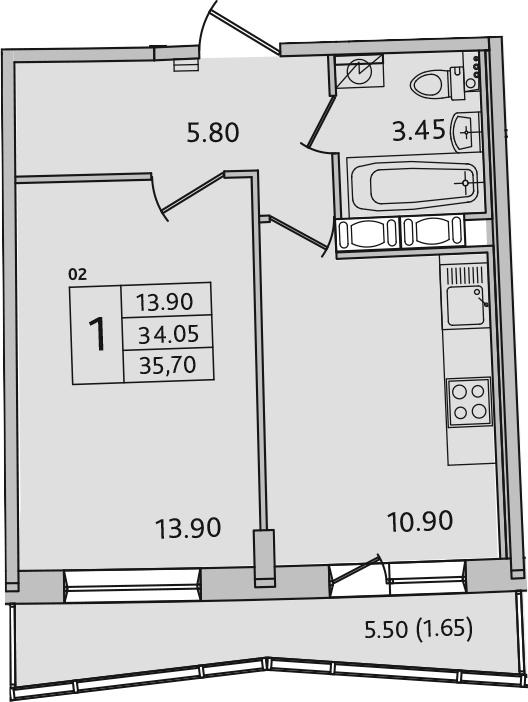 1-к.кв, 39.55 м²