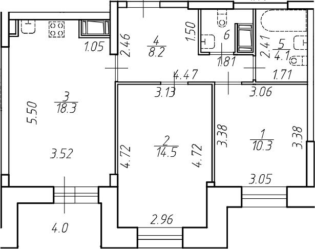 3-комнатная 61 м<sup>2</sup> на 11 этаже