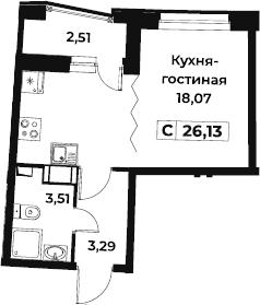 Студия 27 м<sup>2</sup> на 3 этаже