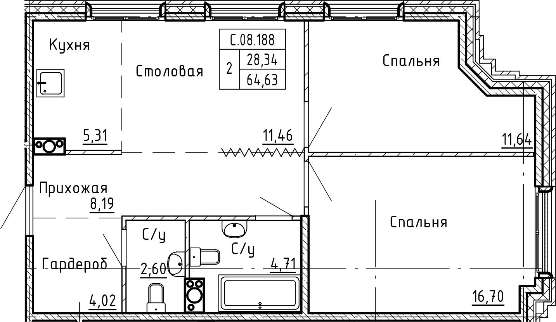 3-комнатная 64 м<sup>2</sup> на 8 этаже