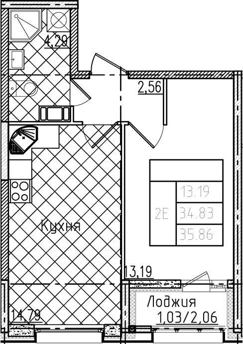 2-комнатная 36 м<sup>2</sup> на 7 этаже