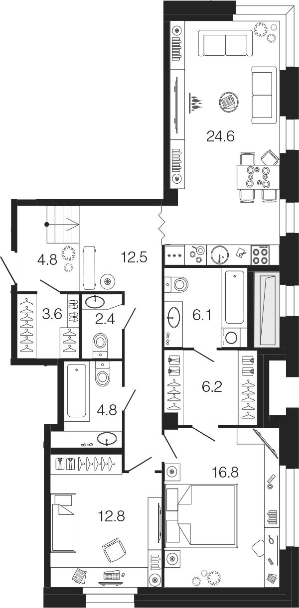 3-комнатная 94 м<sup>2</sup> на 1 этаже