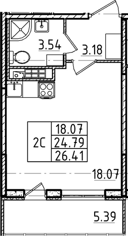 Студия 30 м<sup>2</sup> на 4 этаже