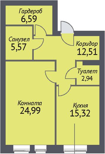 1-к.кв, 65.6 м²