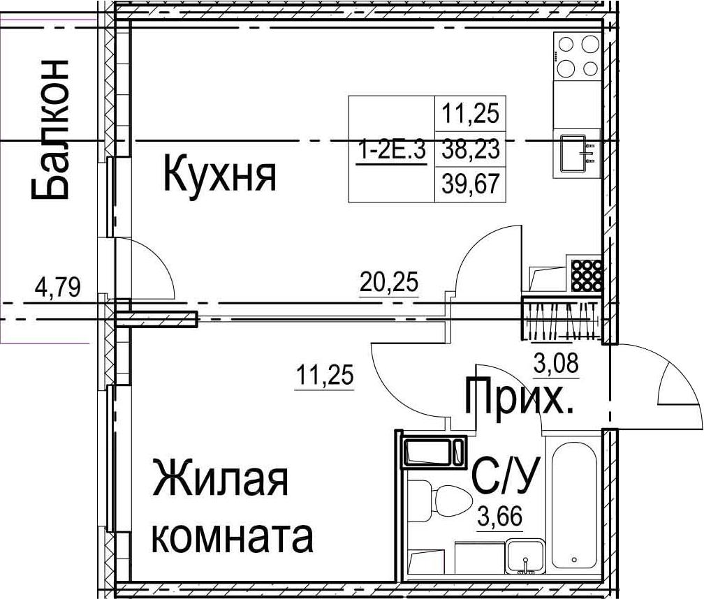 2-комнатная 43 м<sup>2</sup> на 13 этаже