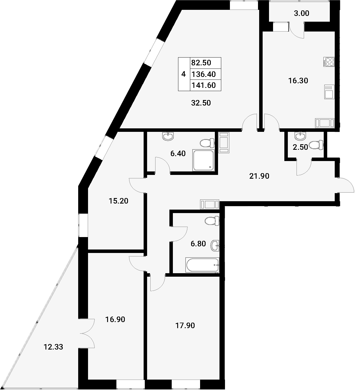 4-к.кв, 151.73 м²