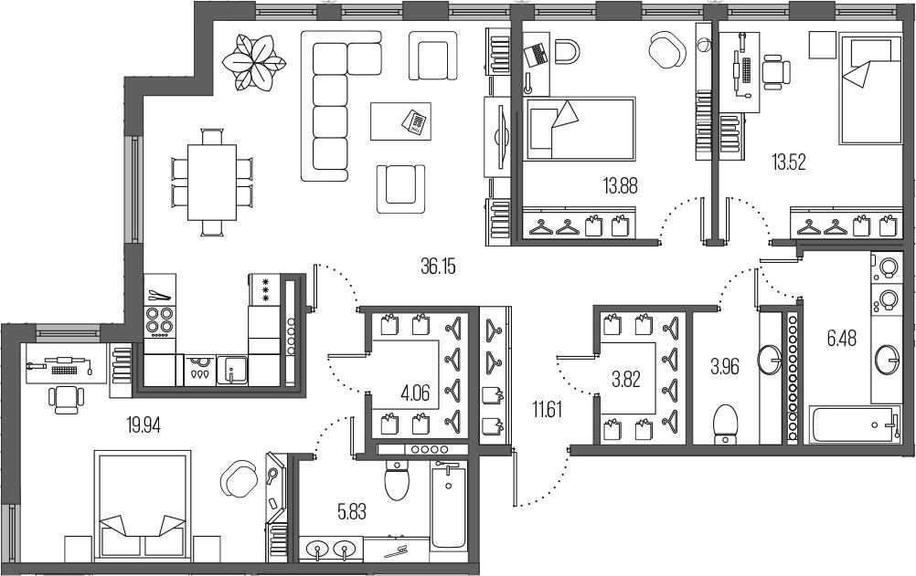 4-комнатная 162 м<sup>2</sup> на 5 этаже