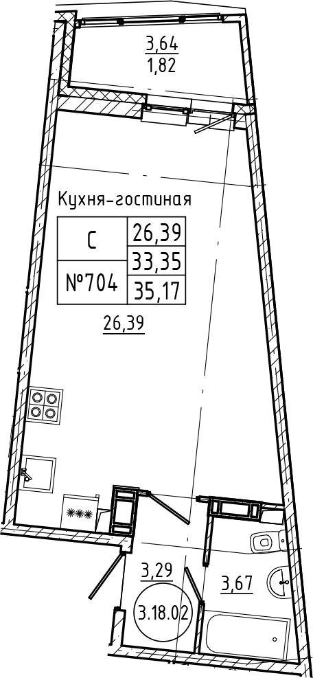 Студия 36 м<sup>2</sup> на 18 этаже