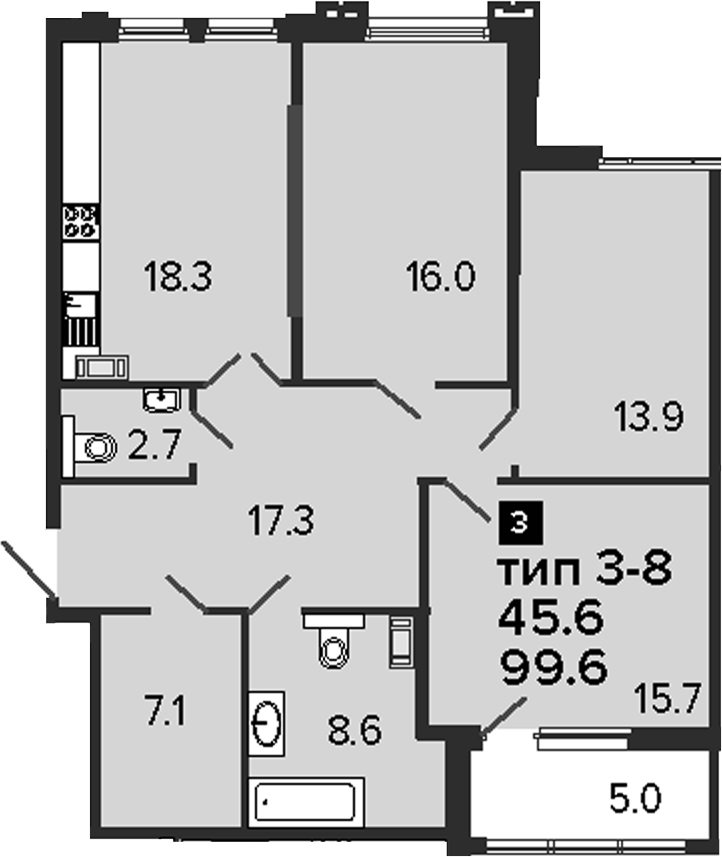 3-комнатная 104 м<sup>2</sup> на 8 этаже