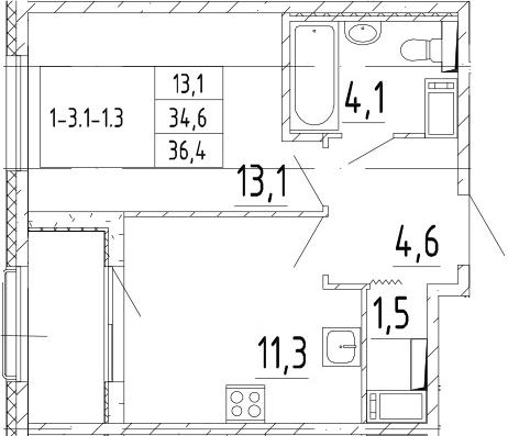 1-комнатная 38 м<sup>2</sup> на 8 этаже